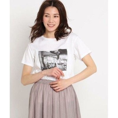 COUP DE CHANCE/クードシャンス 【洗える】カフェエフェクトプリントTシャツ ホワイト(001) 38(M)