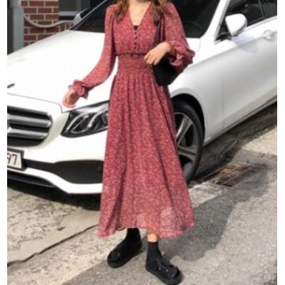 韓国 ファッション レディース ワンピース 花柄 ロング シフォン フレア ハイウエスト 長袖 ゆったり レトロ 大人可愛い カジュアル