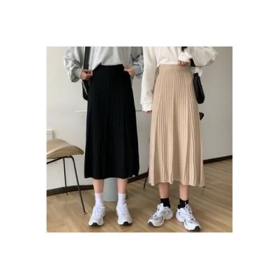 【送料無料】黒の半身裙スカート レディース 秋 年 ハイウエスト 着やせ ニッティング | 364331_A63768-0994410