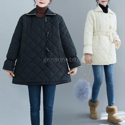 秋冬 アウター レディース キルティングコート 中綿 軽量 防寒 ステンカラー 無地 ベルト付き大きいサイズ 40代 30代 ダウンジャケット ミディ丈 カジュアル