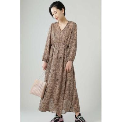 【ローズバッド】 レオパードマキシワンピース レディース ベージュ - ROSE BUD
