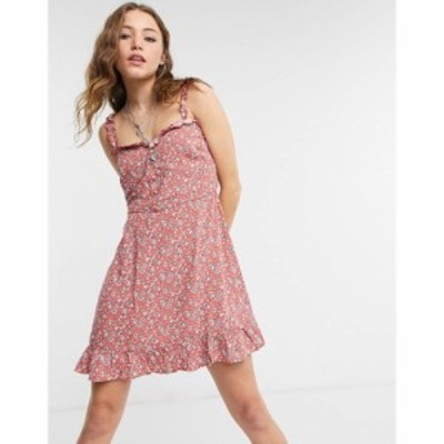 ロリーアンドホリー Lottie And Holly レディース ワンピース ミニ丈 ワンピース・ドレス frill hem mini dress in ditsy floral コーラ