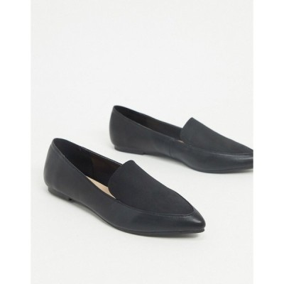 ロンドンレベル レディース サンダル シューズ London Rebel pointed flat loafers in black mix Black pu micro mix