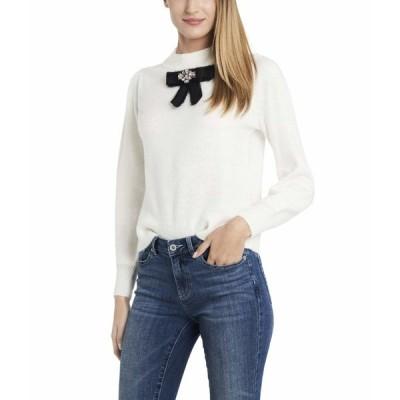 セセ ニット&セーター アウター レディース Long Sleeve Pullover Sweater w/Center Bow Antique White