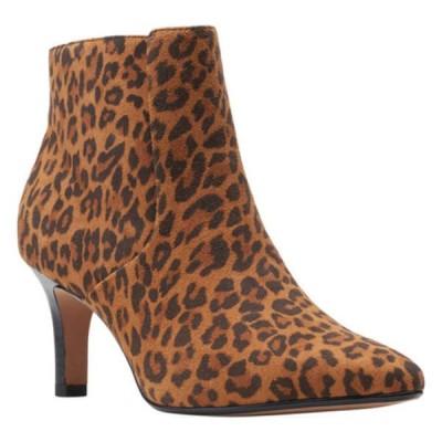 クラークス レディース ブーツ&レインブーツ シューズ Illeana Petal Pointed Toe Bootie Dark Tan Leopard Suede