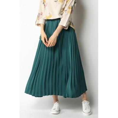 【エルビーシー】 ビンテージサテンプリーツスカート レディース グリーン M LBC