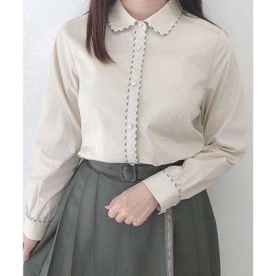 フィント F i.n.t レターストライプパイピングシャツ (IVORY)