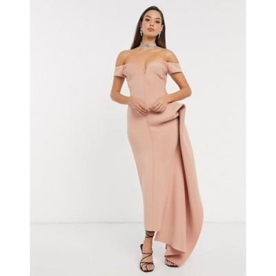 エイソス レディース ワンピース トップス ASOS DESIGN bardot plunge side pep tuck maxi dress in rose