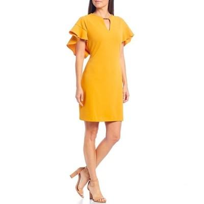 ロンドンタイムス レディース ワンピース トップス Petite Size Ruffle Sleeve Keyhole Crepe Shift Dress Gold
