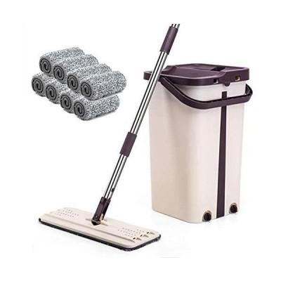 モップ フロアワイパー バケツ付き 乾湿両用 汚れ水分け 専門バケツ付き フロアワイパー 手洗い不要 8枚取り替えパッド (紫の)