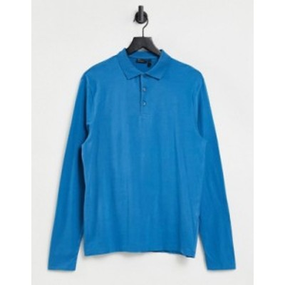 エイソス メンズ シャツ トップス ASOS DESIGN organic long sleeve polo in blue Faience