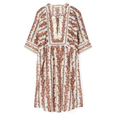 トリーバーチ ワンピース トップス レディース Tropical Print Cotton & Silk Cover-Up Tunic Dress Orange Wonderland Vine