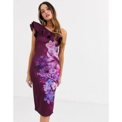 リプシー レディース ワンピース トップス Lipsy frilly one shoulder scuba pencil dress in plum floral print Plum multi
