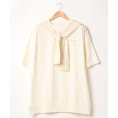 tシャツ Tシャツ ロゴT  肩掛けカーディガン Tシャツ オーバーサイズ