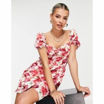 アイソウイットファースト I Saw It First レディース ワンピース ワンピース・ドレス puff sleeve square neck tea dress in pink flora