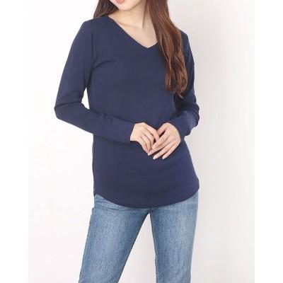 アットワン atONE すっきりVネックロングTシャツ (NAVY)