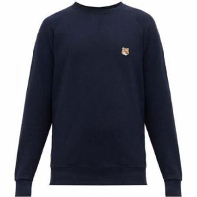 メゾン キツネ Maison Kitsune メンズ スウェット・トレーナー トップス Fox Head-applique cotton sweatshirt Navy