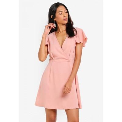 ザローラ Zalora Basics レディース パーティードレス ラップドレス ワンピース・ドレス Basic Short Sleeves Wrap Dress Blush