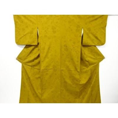 宗sou 蔦の葉模様織出し手織り節紬着物【リサイクル】【着】