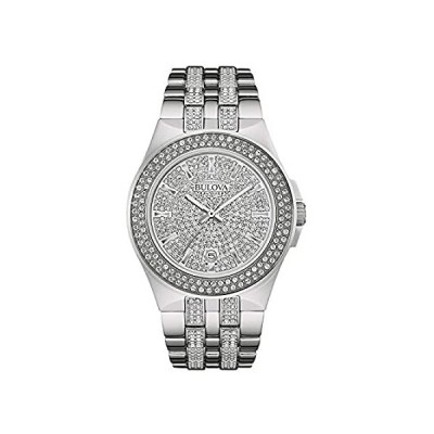 Bulova Men's 96B235 Swarovski Crystal Stainless Steel Watch 並行輸入品
