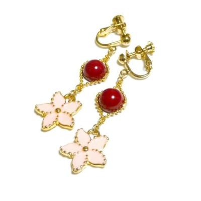 赤珊瑚とセントポーリアのイヤリング・金色