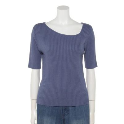 fredy (フレディー) レディース 変形衿ワイドリブニット ブルー 38