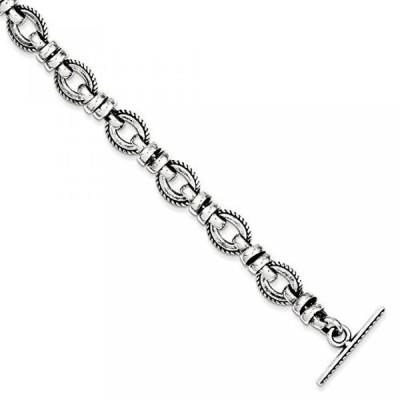 """ミア コレクション ブレスレット 925 Sterling Silver Antiqued Fancy Link Bracelet 7.5"""" (7.5in x 11mm)"""