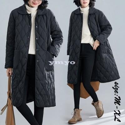中綿コート レディース ロングコート 冬服 綿入れ 防寒着 暖かい 薄手 軽量 カジュアル オシャレ アウター ゆったり きれいめ 大きいサイズ ファー 長袖 通勤
