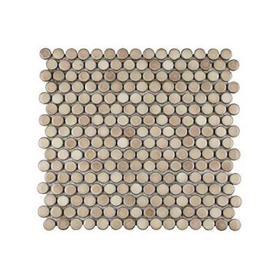 特別価格SOMERTILE ハドソンペニーラウンドトリュフ 12インチ x 12-5/8インチ x 5mm 磁器モザイクタイル (10タイル/10.74平方フ好評販売中