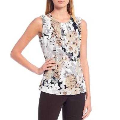 カルバンクライン レディース カットソー トップス Mixed Floral Print Matte Jersey Pleat Neck Sleeveless Top Tin Multi
