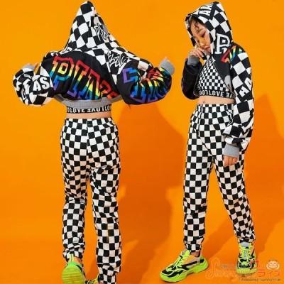 キッズダンス衣装 ヒップホップ HIPHOP 子供服 長袖 チェック柄 ジャケット タンクトップ 長パンツ 短パンツ 女の子 ジャズダンス ステージ衣装 体操服 練習着