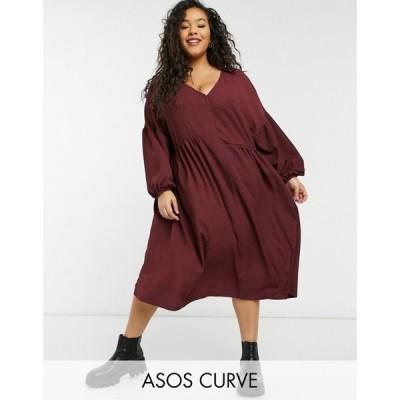 エイソス ASOS Curve レディース ワンピース ミドル丈 ワンピース・ドレス Curve oversized textured shirt smock midi dress in burgundy バーガンディ