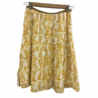 【中古】ボールジー BALLSEY トゥモローランド スカート フレア ひざ丈 タック 総柄 36 黄 白 イエロー ホワイト