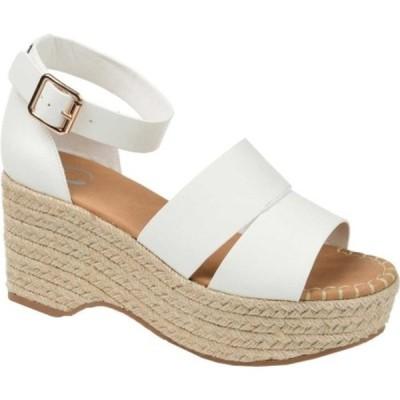 ジャーニーコレクション レディース サンダル シューズ Takara Espadrille Wedge Platform Sandal White Faux Leather