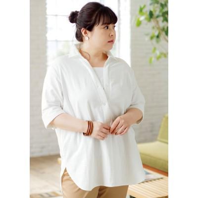 ストレッチダブルガーゼ・大人の美人シャツ(5分袖)(大きいサイズ)