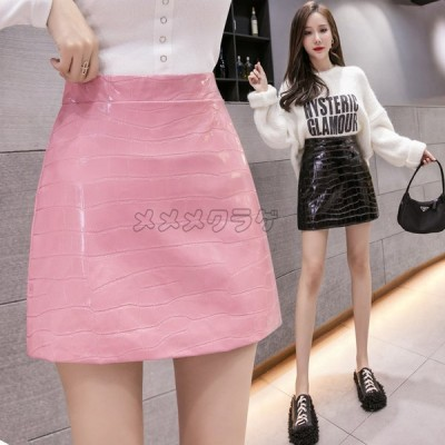 ミニスカート レディース ハイウエスト Aラインスカート PU革 デイリーコーデ ヒップラップ 韓国風 着痩せ 着回し オフィス きれいめ 女性向 2020新作