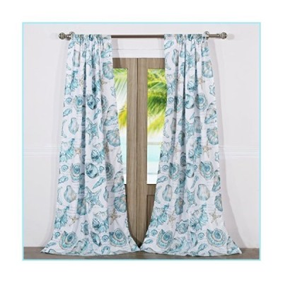新品Barefoot Bungalow Cruz Coastal Curtain Panel Set, 84 x 84 inches, White