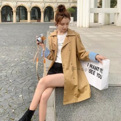 スプリングコートトレンチコートレディース秋薄手春トレンチショートコートゆったりアウターカジュアル20代30代40代ファッション
