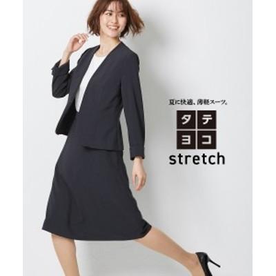 スーツ レディース タテヨコ ストレッチ スカート カラーレス ジャケット +フレア ネイビー/ネイビーストライプ/黒 S/M/L ニッセン