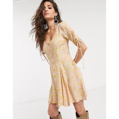 フリーピープル レディース ワンピース トップス Free People laced up floral buttondown mini dress