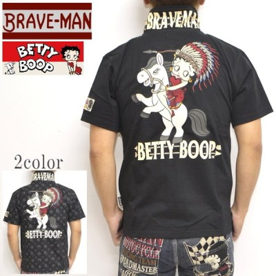 ブレイブマン ベティブープ BBB-2109 天竺半袖ポロシャツ BRAVE MAN BETTY BOOP トップス バイカー バイク メンズ
