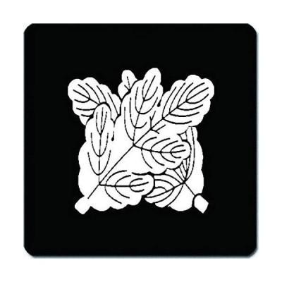 家紋 捺印マット 違い梶の葉紋 11cm x 11cm KN11-0037W 白紋