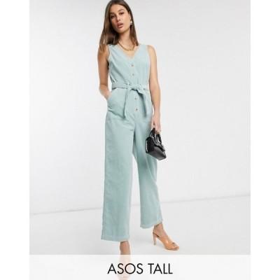エイソス ASOS Tall レディース オールインワン ジャンプスーツ Vネック ワンピース・ドレス ASOS DESIGN Tall cord v neck jumpsuit ミントグリーン