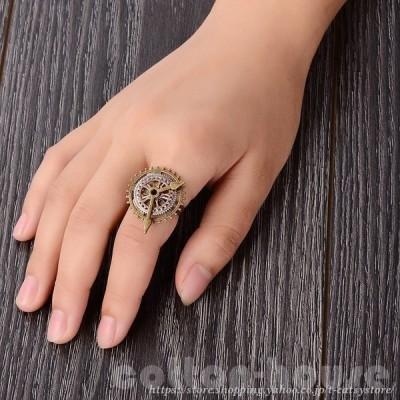 指輪 リング レディース スチームパンク風 ギア 歯車 時計 レトロ調 アンティーク風 大ぶり おしゃれ かっこいい かわいい 女性用 プレゼント
