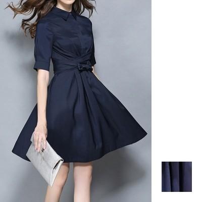 韓国 パーティードレス お呼ばれワンピース 夏 春 ブライダル クロスデザイン ウエストマーク シャツ nalo8807 20代 30代 40代