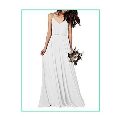 CChiffon Long Bridesmaid Dresses V-Neck Party Prom Dress Spaghetti Formal Evening Gowns US 8 Ivory並行輸入品