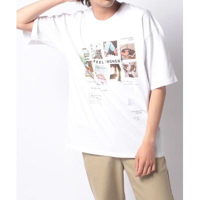 (Amerikaya/アメリカヤ)フォト プリント 半袖 Tシャツ/ユニセックス アイボリー