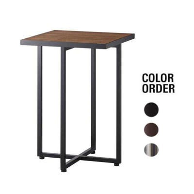 サイドテーブル ウォールナット天板  40×40×60cm 業務用店舗家具 tfg346-2h600