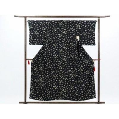 【中古】リサイクル小紋 / 正絹黒地木の葉柄袷小紋着物 / レディース(古着 中古 小紋 リサイクル品)