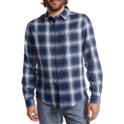 ピー エックス メンズ シャツ トップス Plaid Long Sleeve Regular Fit Shirt NAVY